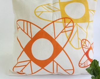 Orange flowers CUSHION handprinted - Minimalist design flower pillow cover