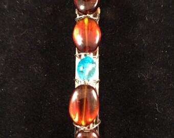 Hand beaded barrette, hand beaded hair clip, barrette, hair clip, hair accessories, amber hair clip, amber barrette