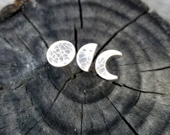 Moon Phase Silver Post Earrings