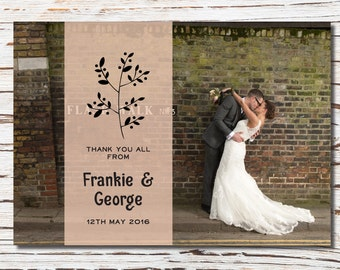 Simple black leaf style wedding thank you printable card - with photo
