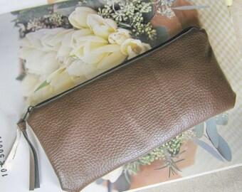 Zipper bag, phone bag, cosmetic purse, gadget pouch, pencil bag soft vegan leather