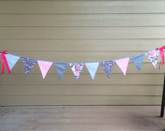 Pinks, and Grays with sparkle Fabric Banner/Bunting