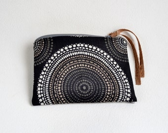 Cotton Clutch Black and Brown Circles. Small Bag Purse. Zipper Pouch