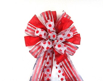 Red Bow / Red and Silver Bow / Wreath Bow / Christmas Bow / Tree Topper Bow / Christmas Tree Bow