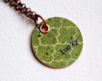 Lucky Mixed Media Necklace, Green Beaded Jewelry, Beaded Pendant Necklace, Recycled Repurposed, Short, Gemstone Necklace