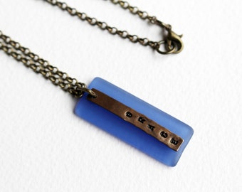 Grace Stamped Necklace Stamped Jewelry Blue Bead Pendant Beaded Jewelry Minimalist Necklace Short Necklace Recycled Sea Glass