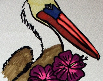 Handcolored Screen Print - Brown Pelican with Hibiscus