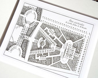 Antique French Garden Plan for M. Boutin In Sepia  Archival Print