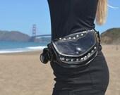 Black leather   sycamore pocket belt/ belt bag/ festival belt/burning man belt/ utility belt