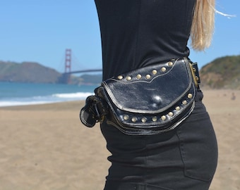 Black leather   sycamore pocket belt/ belt bag/ festival belt/burning man belt/ utility belt
