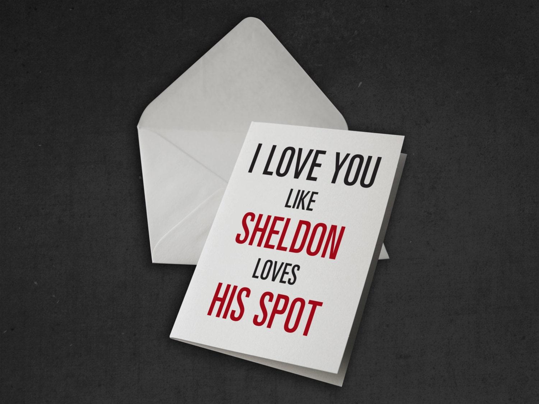 Sheldon I Love You Valentine Card The Big Bang Theory Tv Show – Big Valentine Card