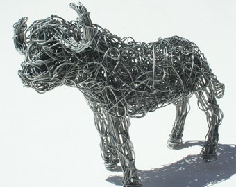 Wire Sculptured Buffalo from South Africa.  Individually hand made wire art piece. One of the Big 5.