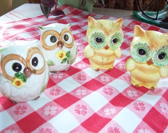 Two Awesome Sets of Owl Salt and Pepper Shakers..Japan..Norcrest...Ceramic..Mid Century..Owl Shakers..