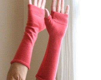 Cashmere Fingerless Gloves in Coral