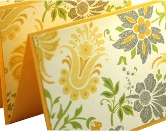 Vintage floral blank note cards, yellow and gray floral blank notes, note card set