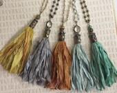Soldered Bullet Bead Cap Bohemian Sari Silk Tassel Necklace Rosary Chain Bead Sunflower Thunderbird Crown heart Sparrow Horseshoe