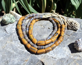 2 Strands Vintage African Trade Beads, Pressed Glass, Sand Cast, Beads Traveling the Globe, T. 52