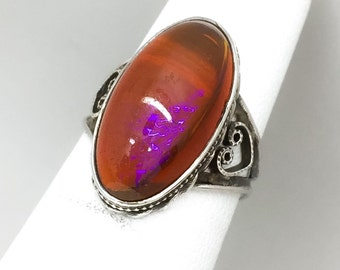 Stunning Vintage Sterling Silver Dragon's Breath Ring Size 4