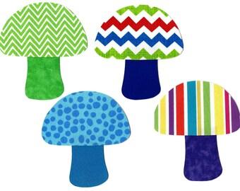 4 Iron on mushroom appliques DIY