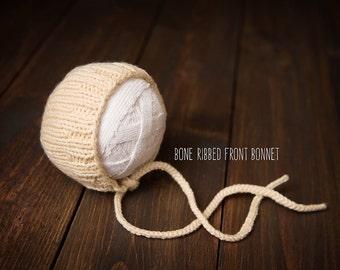 Newborn Bonnet knit cream ready to ship Photography Prop RTS