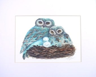 Matted Owl Print from Watercolor Painting, Turquoise Blue and Brown, 8 x 10 Matt size