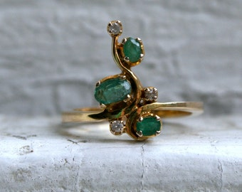 RESERVED - Vintage 14K Yellow Gold Diamond and Emerald Ring - 0.46ct.