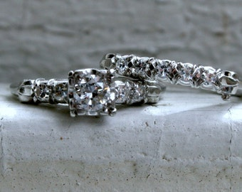 RESERVED - Beautiful Vintage Platinum Diamond Engagement Ring Set by Granat, Wed Loc.