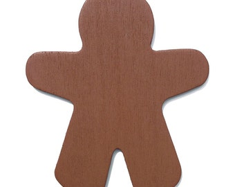 10 Brown Wood Gingerbread Man Cut-Outs - 3 7/8 Inch Ready to Embellish for Holiday Crafts