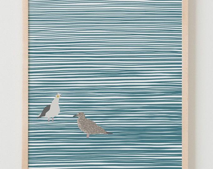 Fine Art Print.  Seagulls Wading at the Beach.  November 7, 2014.