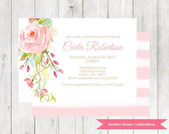 Bridal Shower Invitation Printable | Pink Floral Bridal Tea Invite | Bohemian Wedding Shower Digital File