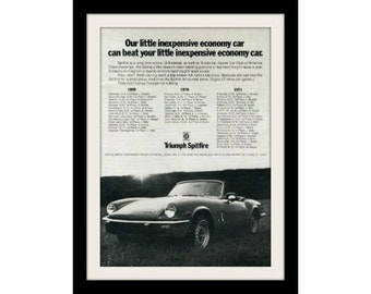 1972 Triumph Spitfire Sports Car Ad, Vintage Advertising Wall Decor Print