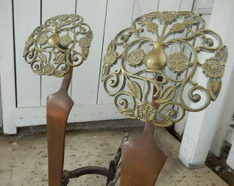 Antique Andirons - Art Nouveau Fireplace Andirons - Bronze & Brass Andirons - Sheffield Forgemasters