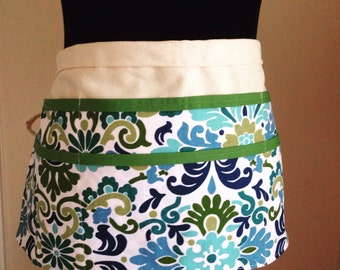 Utility Apron, Womens Vendor Apron, Teacher Apron, Carpenter Apron, blue and green apron, blue apron, money apron, craft apron