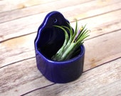Wall Planter - Handmade air plant / succulent holder in cobalt blue.  Ceramic planter, cast from vintage mold.  Indoor gardening, great gift