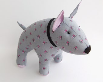 BullTerrier stuffed toy dog, Vintage cotton, plush puppy