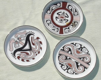 Vintage Pre-Columbian Era Porcelain Coaster Set - Set of 3