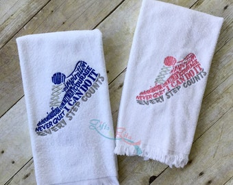 Runner's sweat towel, inspirational running shoes,  embroidered running shoes, fitness gift, embroidered hand or sweat towel