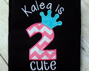 too cute (2 cute) birthday shirt with crown,  alternative birthday girl shirt, embroidered 2 year old shirt