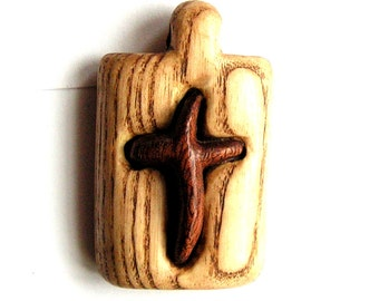 Wooden cross Hand carved pendant in rustic style