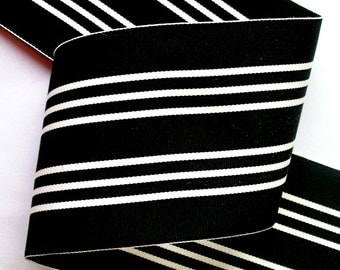 "Acetate Stripes - 3"" x 1 yard Black and White (4 yards left)"