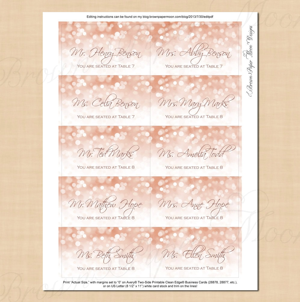 Rose Gold Sparkles Escort Cards (3.5x2): Text-Editable in Microsoft ...
