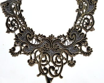 Floral Gold Embroidered Sewing Applique, Yoke Collar, Gold Necklace Collar