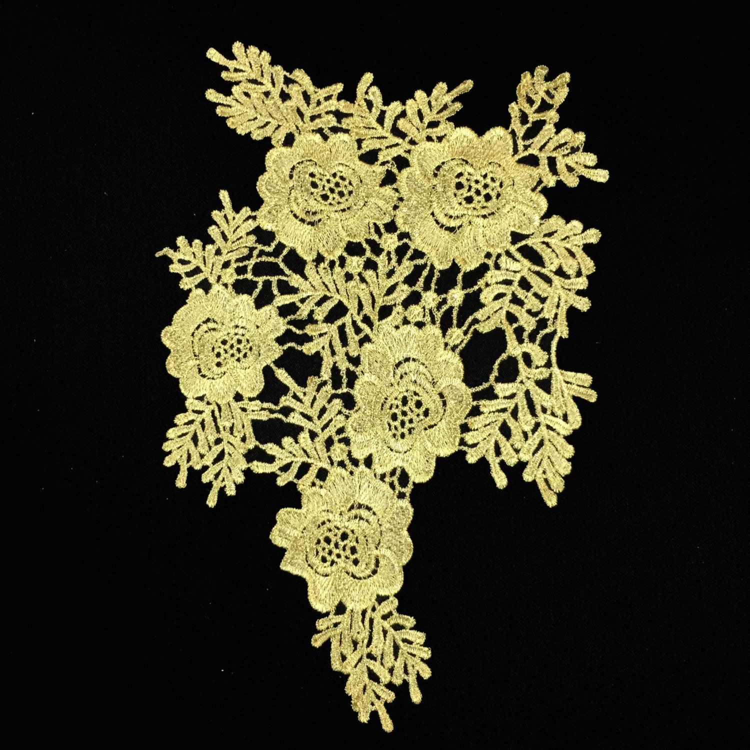 Gold embroidered floral lace crochet applique flowers