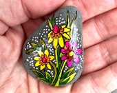 wildflower series -4 / painted rocks / painted stones / rock art / boho art / boho decor / hippie art / small art / flowers on rocks / rocks
