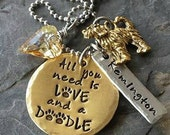 Personalized Hand Stamped Dog Necklace- Golden Doodle Necklace-Pet Lover Necklace