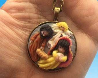 Cold porcelain nativity cabochon pendant for necklace .Reserved for Carl Standifer.