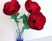 3 Red Satin Fabric Poppies on Stems, Bouquet, Silk Floral Decor