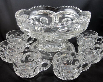 Vintage EAPG Small Punch Bowl with Six Cups