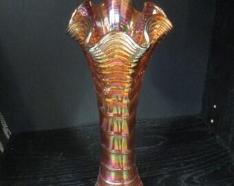 Vintage  Fenton colored Art Glass drapery vase with scalloped rim tiny chip