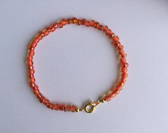 Sale *** Coral single stranded seed bead bracelet